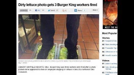 Polémica por foto de empleado de Burger King pisoteando la ensalada