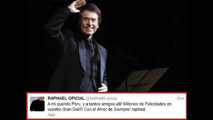 Raphael: ¡A mi querido Perú, millones de felicidades en su gran día!