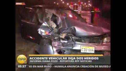 Accidente vehicular deja dos heridos en la avenida Javier Prado
