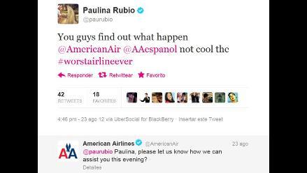 Paulina Rubio se enfrenta con aerolínea por Twitter