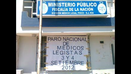 Trabajadores de Medicina Legal acatan paro de 48 horas en Pisco