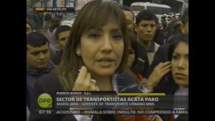María Jara tilda de política huelga de un sector de transportistas