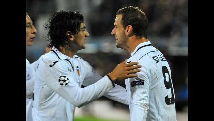 Valencia goleó al BATE Borisov con tres anotaciones de Roberto Soldado