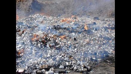 Chiclayo: Incineran 120 mil cajetillas de cigarros de contrabando