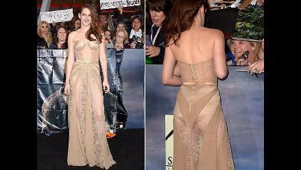 Kristen Stewart lució vestido transparente en estreno de Amanecer