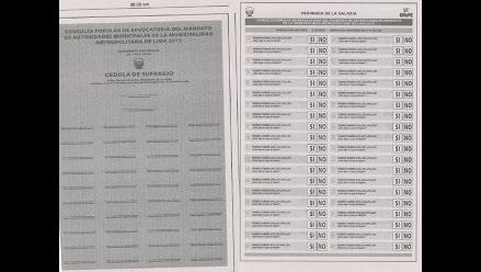 ONPE publica diseño de cédula para proceso de revocatoria de Villarán