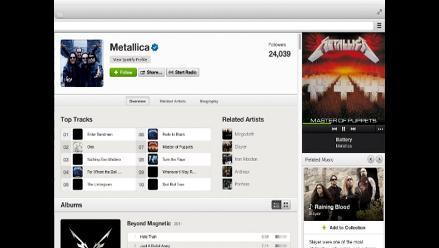 Metallica comparte su catálogo músical a través de Spotify