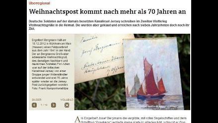 Alemán recibe con 71 años de retraso una carta navideña