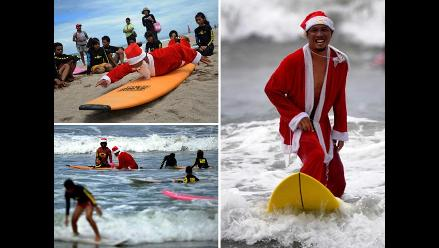 Papá Noel recibe el verano practicando surf con niños musulmanes