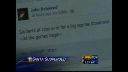 Suspenden a alumno que planeaba ir al colegio vestido de Papá Noel
