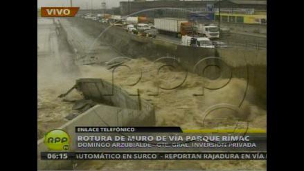 Cede muro del proyecto Vía Parque Rímac por aumento de caudal del río