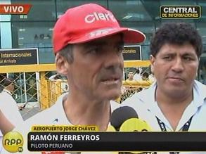 Ramón Ferreyros llegó a Lima tras abandonar el Rally Dakar 2013