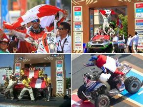 Pilotos peruanos flamearon la bandera en Santiago al terminar el Dakar