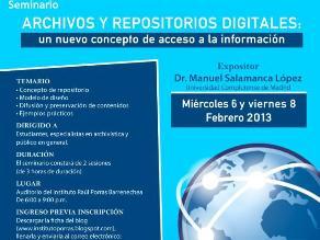 Dictarán seminario sobre archivos y repositorios digitales