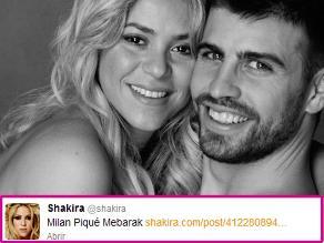 Shakira confirma nacimiento de su hijo, Milan Piqué Mebarak