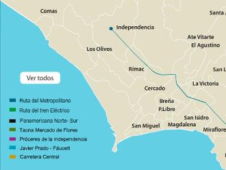 Rutas de los corredores complementarios de Lima