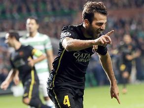 Cesc Fábregas le dio el triunfo al Barcelona ante Celtic por Champions