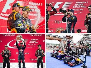 Reviva en imágenes el festejo de Sebastian Vettel en el GP de Corea