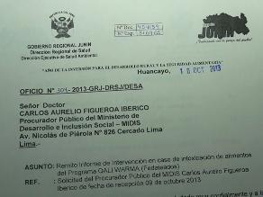Huancayo: Informe de análisis microbiológico fue entregado a procuraduría