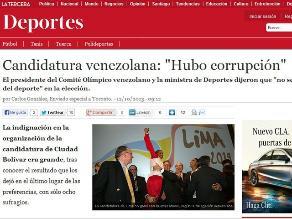 Comité Olímpico venezolano dice que en elección de Lima hubo corrupción
