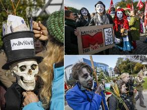 Activistas protestaron contra empresa química Monsanto en Bruselas