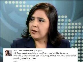 Ministra de la Mujer lamentó que entre muertos del Cusco haya 14 niños