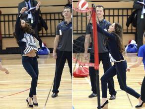 Duquesa Catalina juega voleibol en su primer acto en solitario