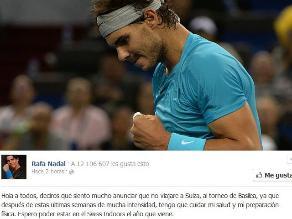 Rafael Nadal no participará en el torneo de Basilea