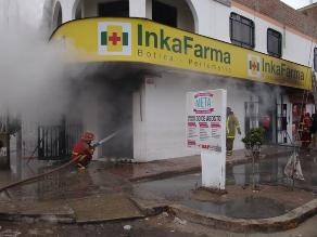 Ica: Incendio de regulares proporciones consume farmacia