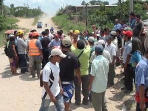 Piquete permanece apostado en vía Yurimaguas-Tarapoto