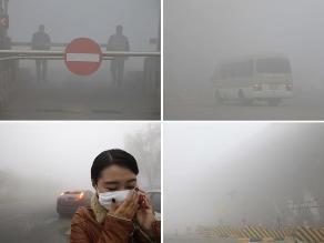 Una densa neblina de contaminación cubre ciudades de China