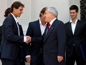Rafael Nadal y Novak Djokovic visitaron al presidente Sebastián Piñera