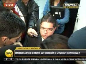 Urtecho se presentó ante Subcomisión de Acusaciones Constitucionales