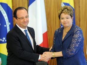 Dilma Rousseff y Francois Hollande comienzan a vivir el Mundial 2014