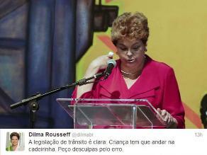 Dilma Rousseff se disculpa por llevar a su nieto en brazos en el auto