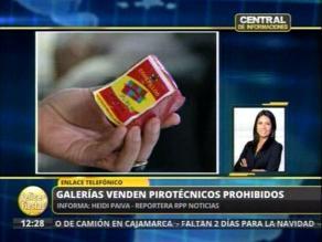 Venden pirotécnicos prohibidos en galería de La Victoria