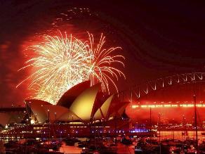 Australia recibió la Navidad con fuegos artificiales