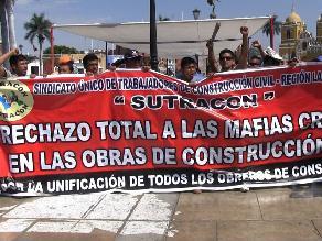 Trujillo: Obreros inician plantones para exigir trabajo en óvalo Grau