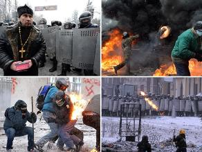 Caos en Ucrania: Sigue violenta gresca entre manifestantes y policías