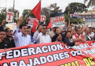 Pasco: CGTP anuncia movilización por alza de sueldo ministerial