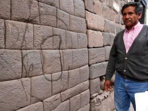 Cusco: desconocidos pintaron muro inca