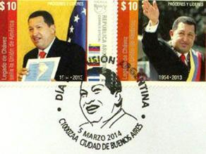 Argentina emite sellos postales en honor a Hugo Chávez