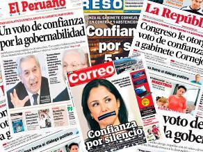 Así informaron los medios impresos el voto de confianza al Gabinete