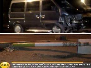 Conductor choca minivan con cuatro postes y se da a la fuga en Los Olivos