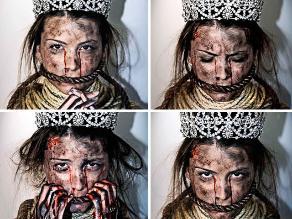 Fotografías de Miss Universo ´amordazada´ en Venezuela