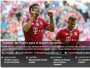 FIFA destaca doblete de Claudio Pizarro con el Bayern Munich