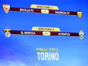 Europa League: Sevilla-Valencia y Benfica-Juventus serán las semifinales
