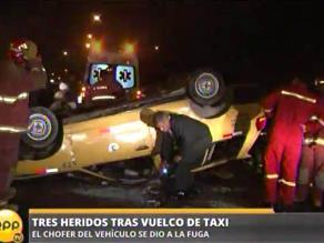 Taxi se despista y conductor fuga dejando pasajeros heridos en Surco
