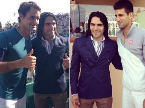 Radamel Falcao visitó a Roger Federer y Novak Djokovic en Montecarlo