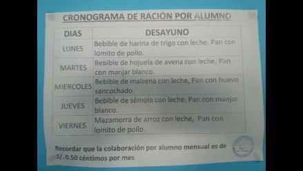 Trujillo: obligan pagar S/.0.50 a escolares por desayunos de Qali Warma